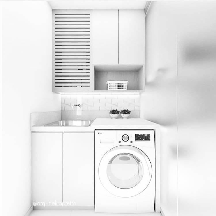 Lavanderia simples branca