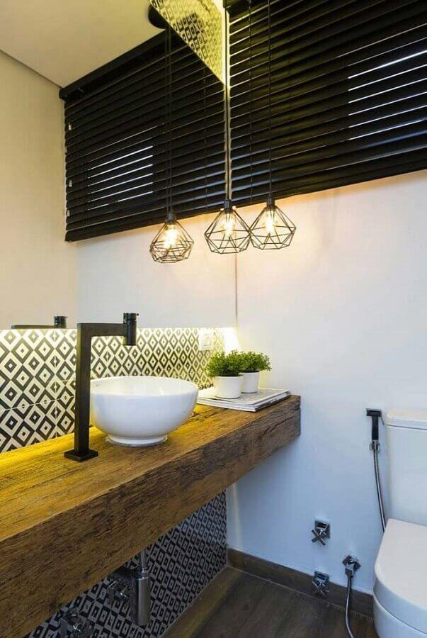 luminária aramada para bancada de banheiro social Foto Home Fashion Trend