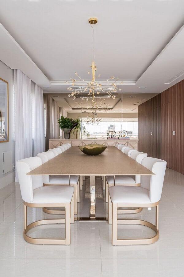 mesa com cadeira acolchoada moderna para decoração de sala de jantar sofisticada Foto Casa de Valentina