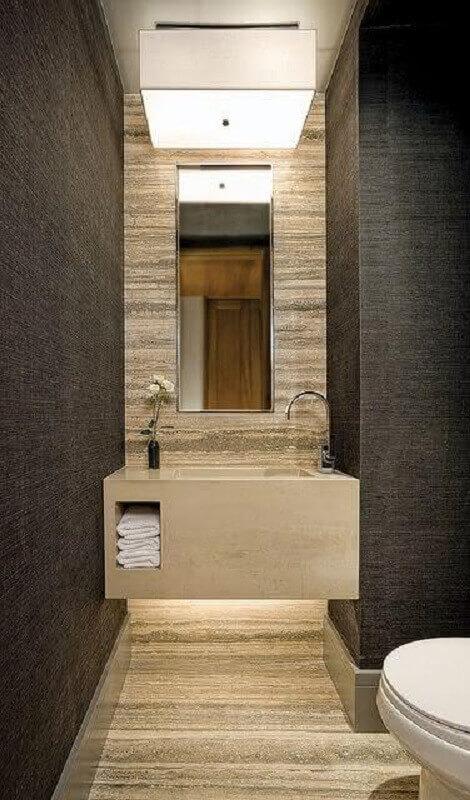 papel de parede cinza para decoração de banheiro social Foto The Architects Diary