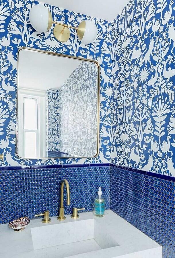 papel de parede para decoração de banheiro azul Foto We Heart It