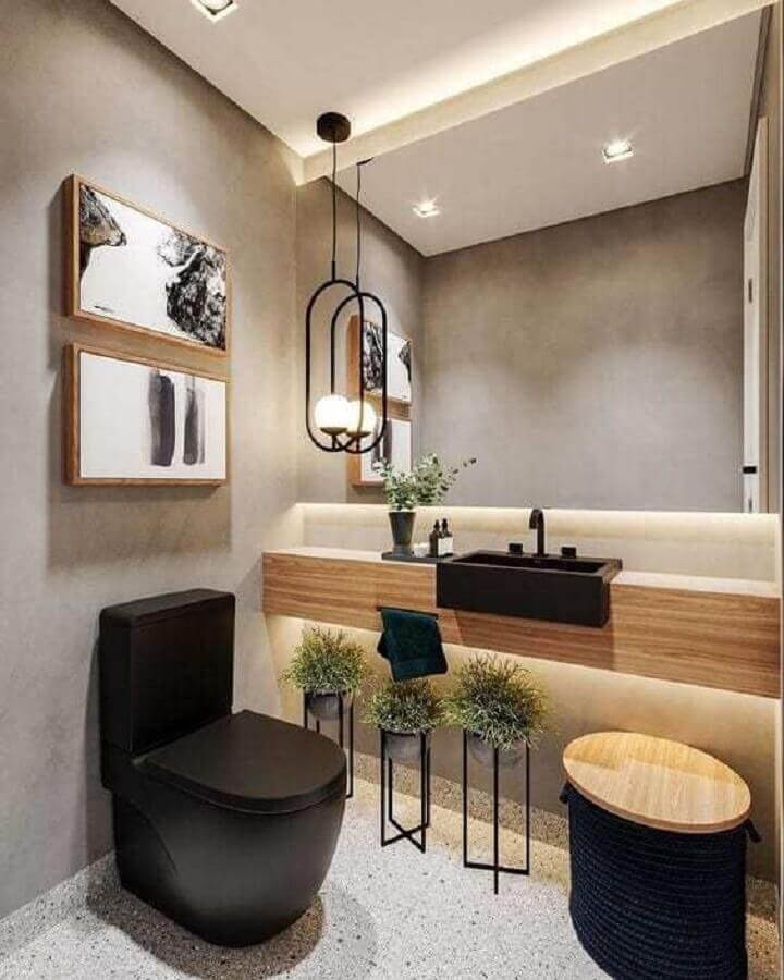 parede de cimento queimado para decoração de banheiro social com bancada de mármore Foto Arq Designer