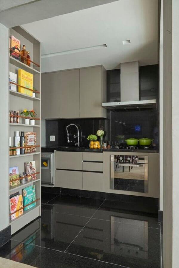Piso preto para cozinha cinza moderna