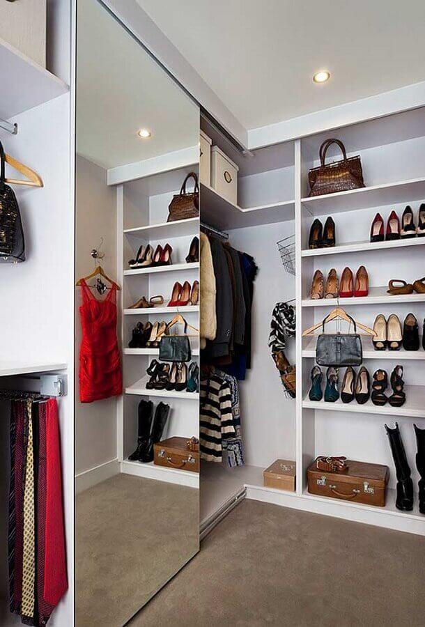 Porta de correr espelhada para guarda roupa tipo closet de canto