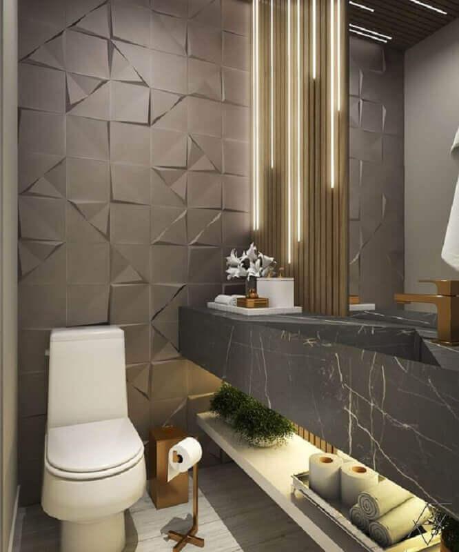 revestimento 3D cinza para decoração de banheiro social moderno Foto Archtrends