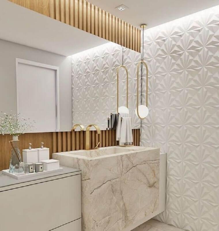 revestimento 3D para decoração de banheiro social moderno Foto Pinterest