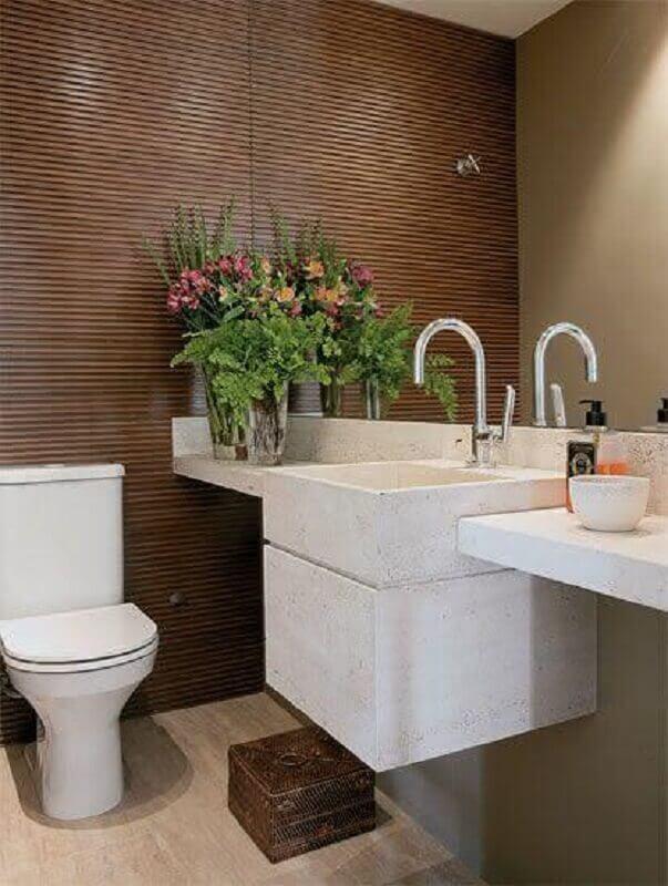 revestimento de parede de madeira para decoração de banheiro social Foto Pinterest