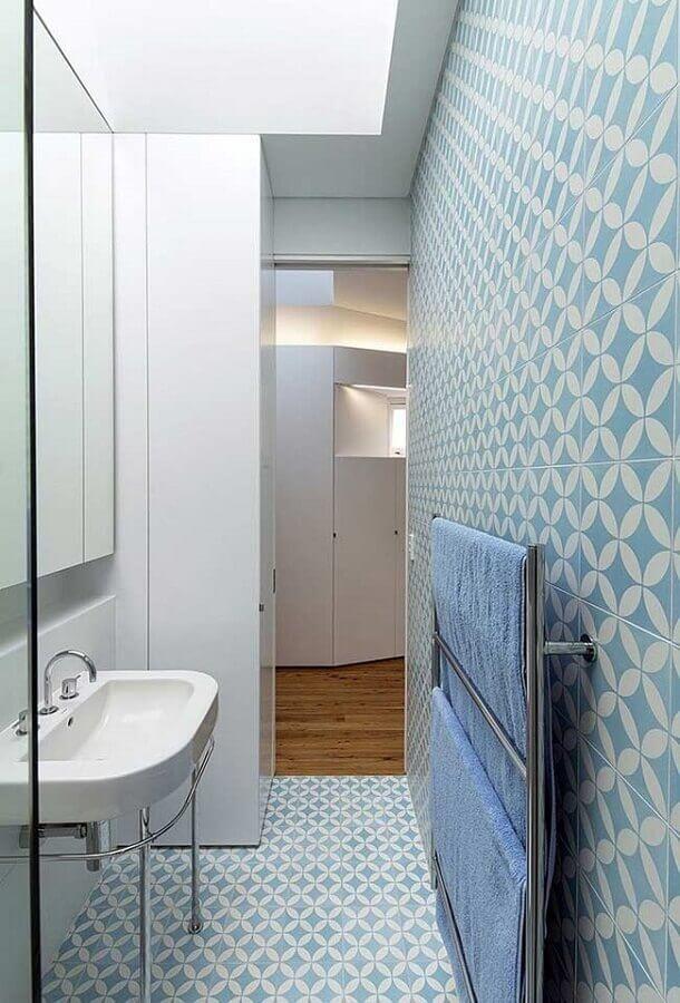 revestimento para banheiro azul pequeno Foto Pinterest
