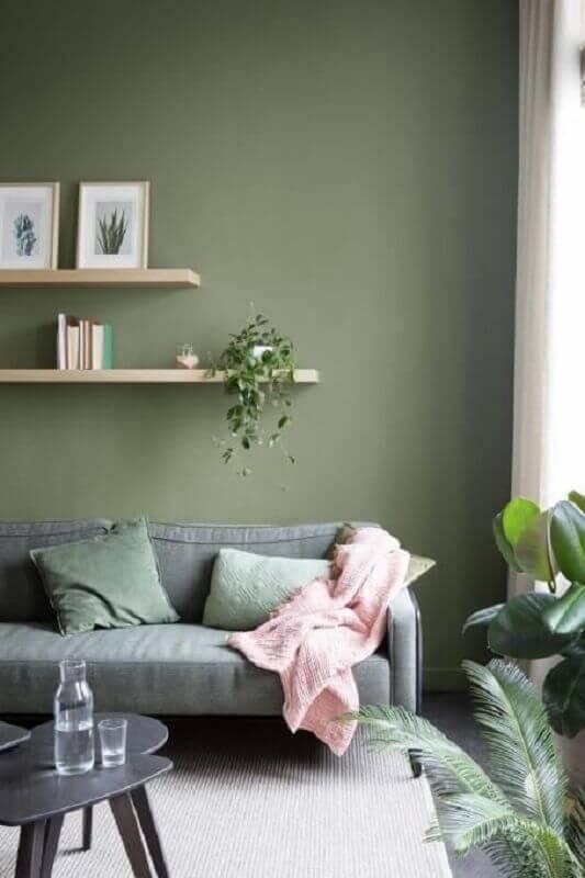 tinta verde oliva para sala de estar decorada com sofá cinza  Foto Archilovers