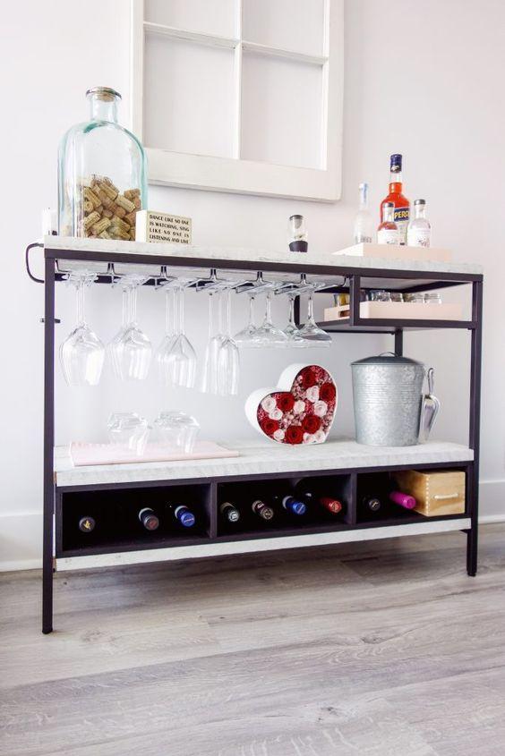Aparador bar na sala de estar