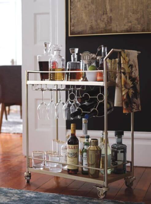 Aparador bar prata com suporta para bebidas