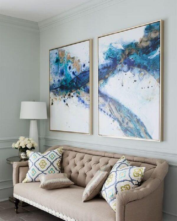 Aposte no quadro mosaico abstrato para decorar a sala. Fonte: Pinterest
