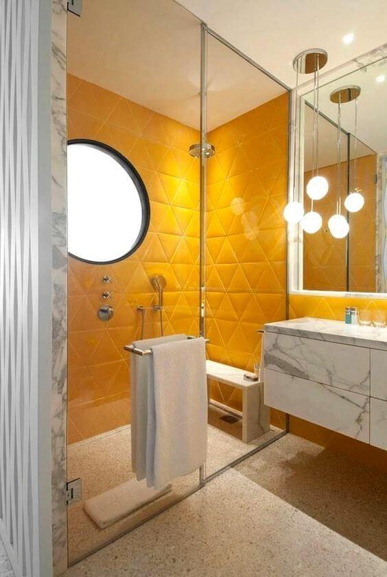 Azulejo 3D amarelo para banheiro