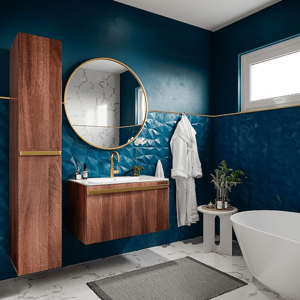 Azulejo 3D azul com armários de madeira