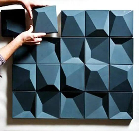 Azulejo 3D azul para banheiro e cozinha