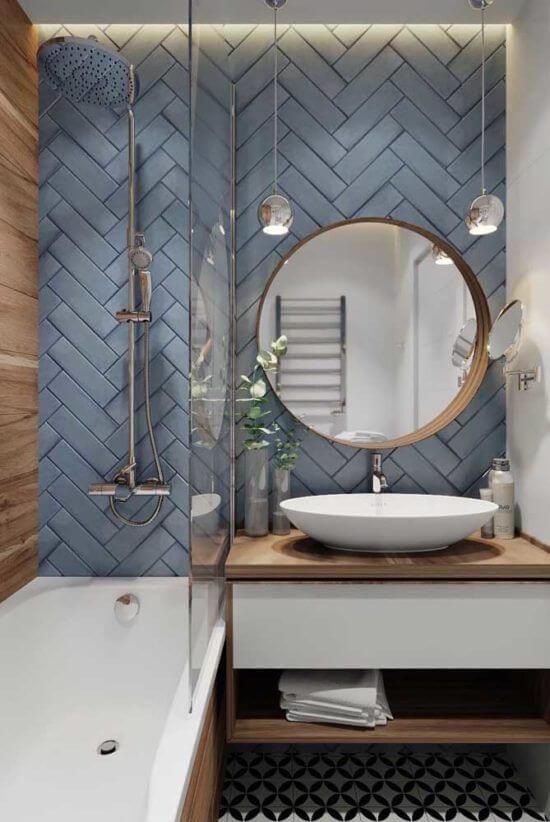 Azulejo 3D azul para banheiro moderno