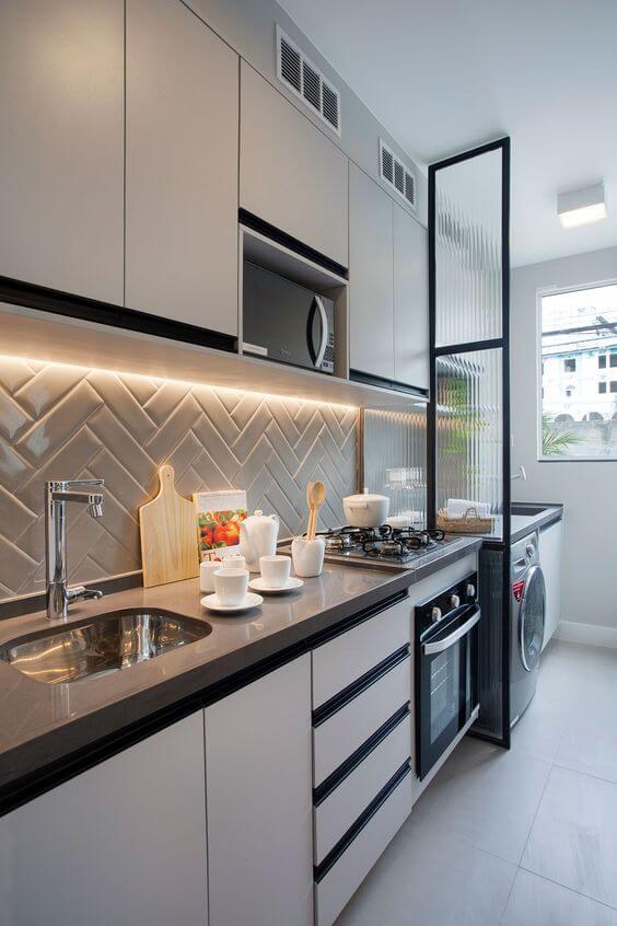 Azulejo 3D cinza com armários brancos