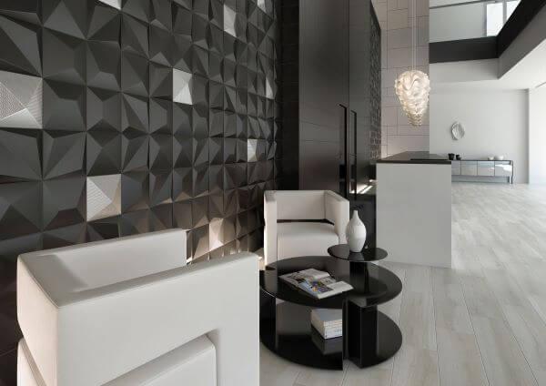 Azulejo 3D cinza e branco
