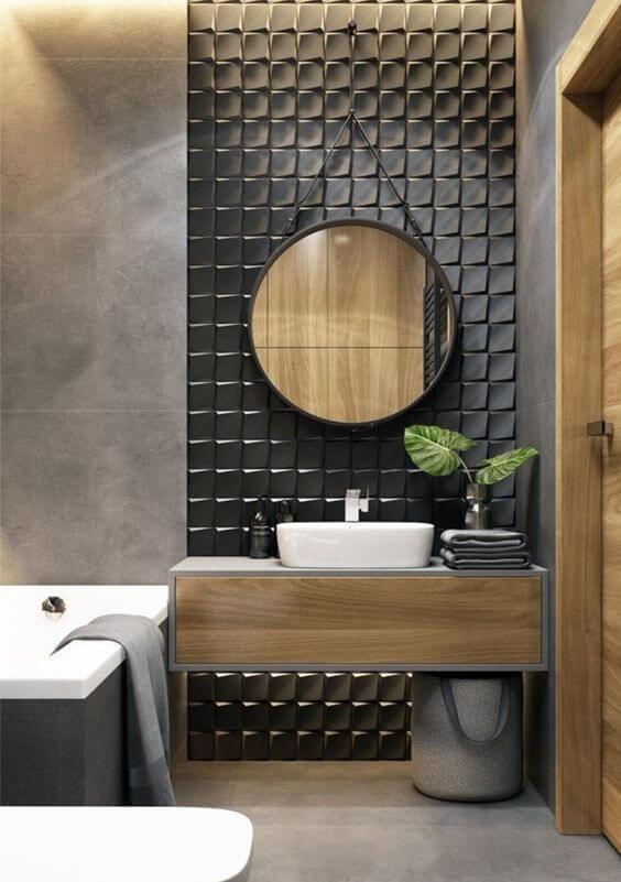 Azulejo 3D preto para banheiro com banheira branca