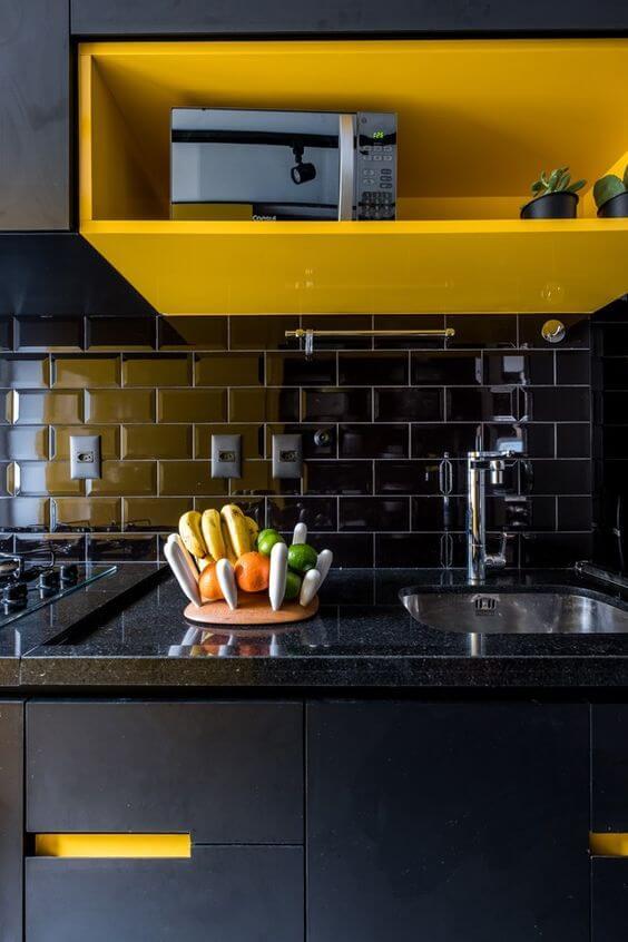 Azulejo 3D preto para cozinha moderna