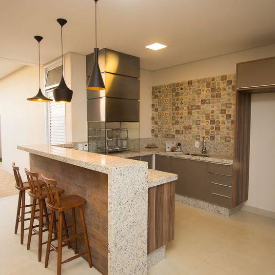 Bancada de granito bege para cozinha