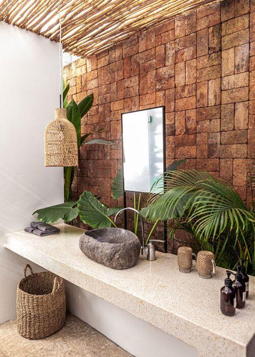 Bancada de granito bege para decoração rustica