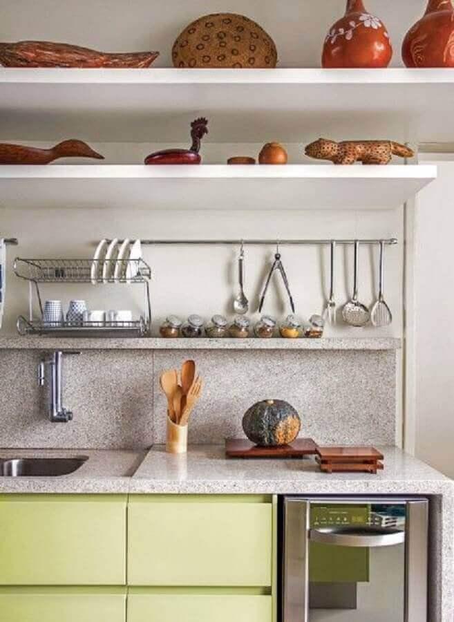 Bancada de granito branco para cozinha amarela metalizada