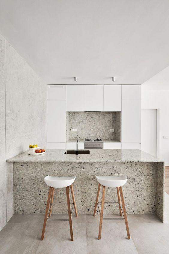 Bancada de granito branco para cozinha moderna