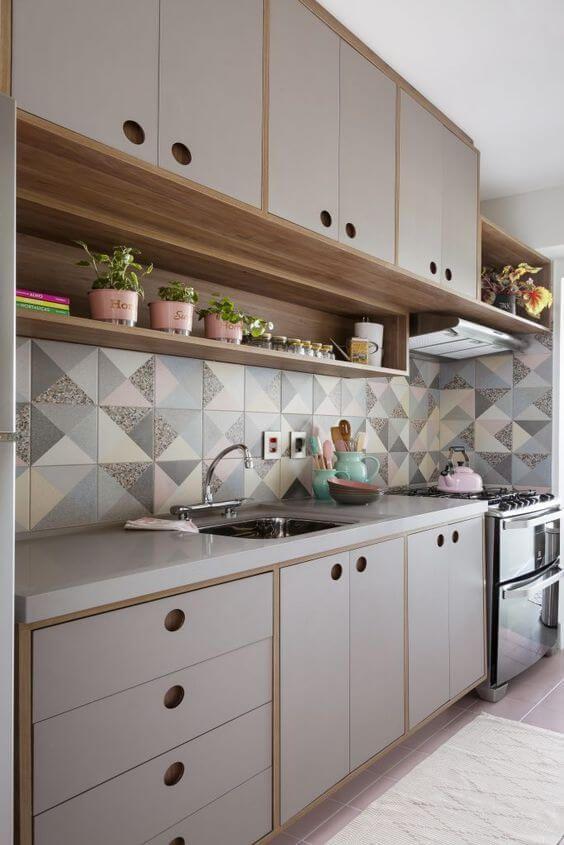 Bancada de granito cinza para cozinha cinza e azul
