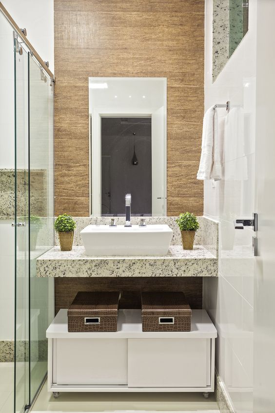 Bancada de granito para banheiro com cuba branca