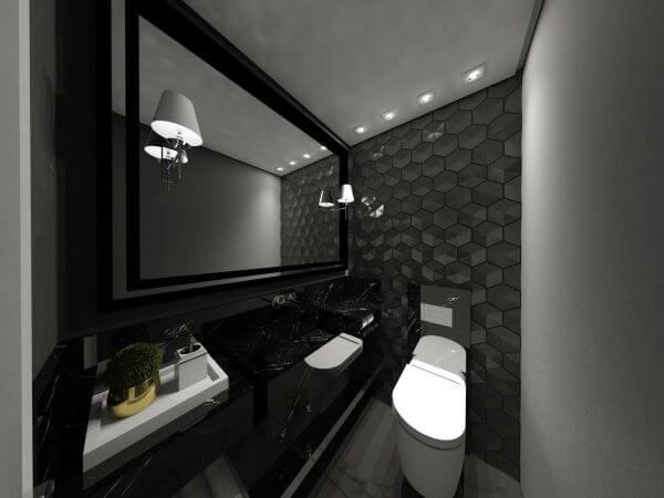 Banheiro com azulejo 3D cinza