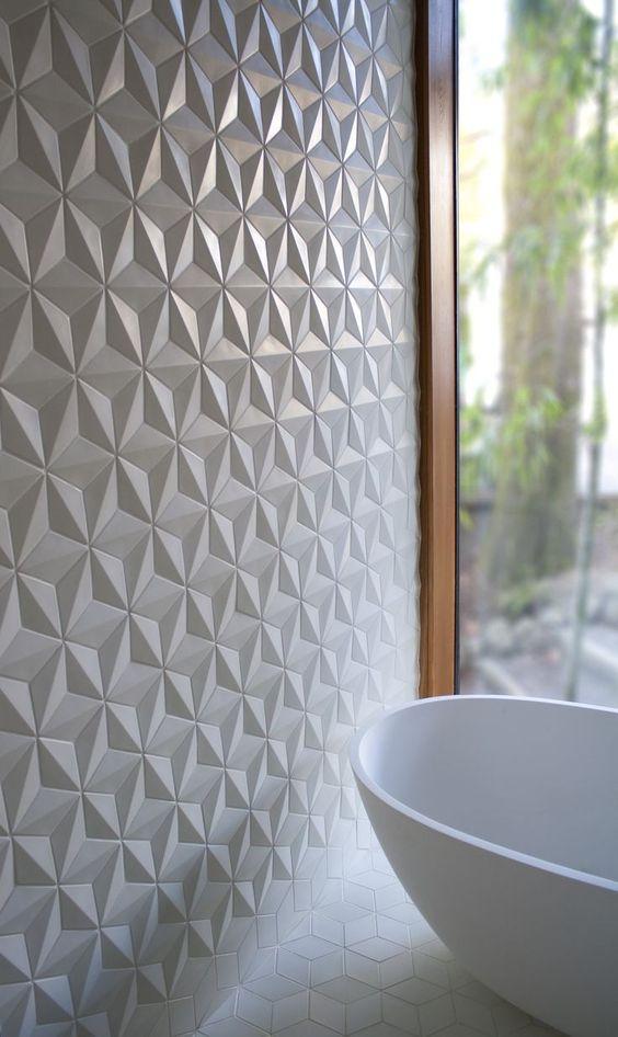 Banheiro com azulejo branco 3D em formato de estrela