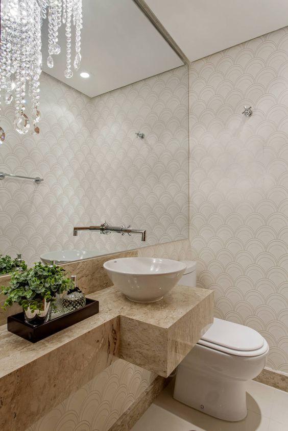 Banheiro com granito bege e cuba branca