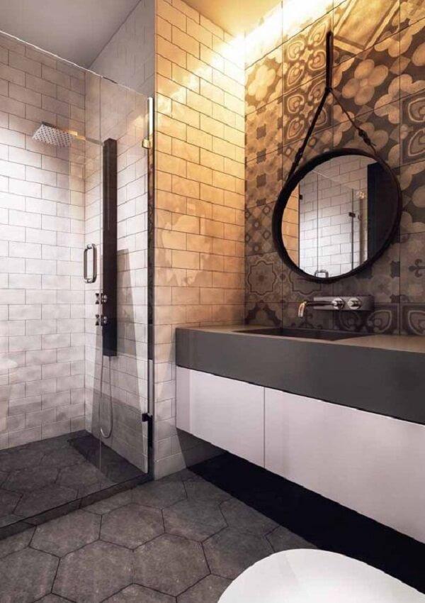 Banheiro elegante com silestone cinza escuro