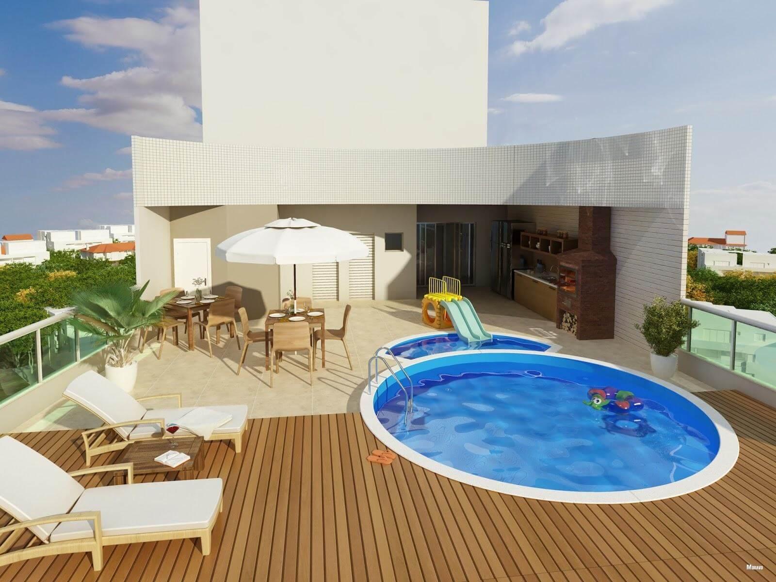 Casa com piscina redonda e deck de madeira. Fonte: Pinterest