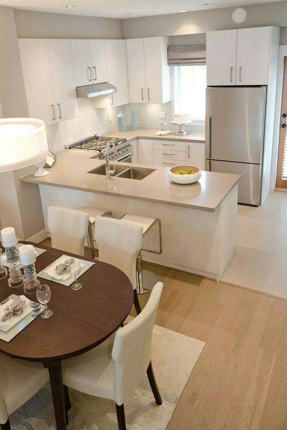Cozinha americana com granito bege