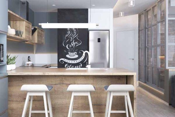 Cozinha americana com tinta lousa preta e banquetas brancas