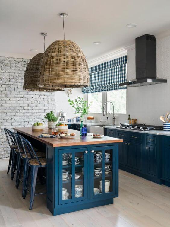 Cozinha azul com revestimento 3D para cozinha moderna