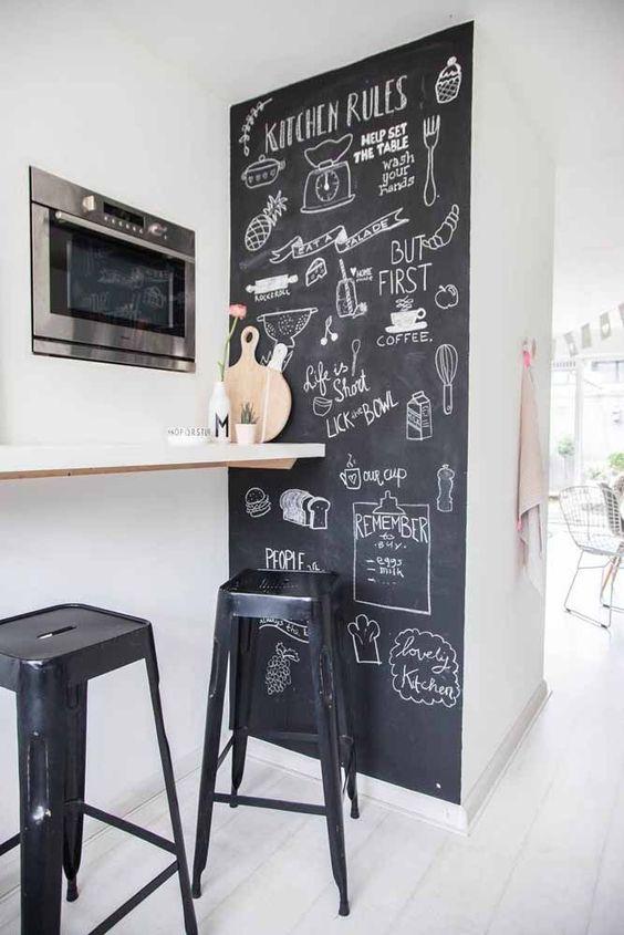 Cozinha com parede pintada com tinta lousa preta