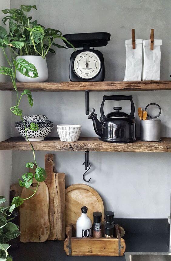 Cozinha com prateleira rustica