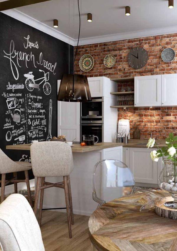 Cozinha moderna com tinta lousa preta e móveis de madeira