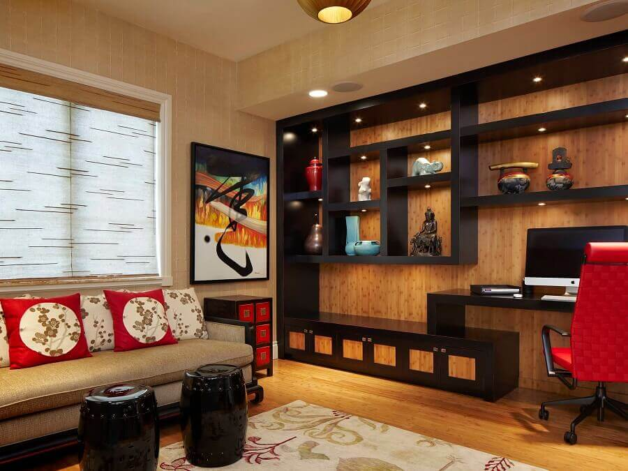 decoração asiática para sala com detalhes em vermelho e preto Foto Houzz
