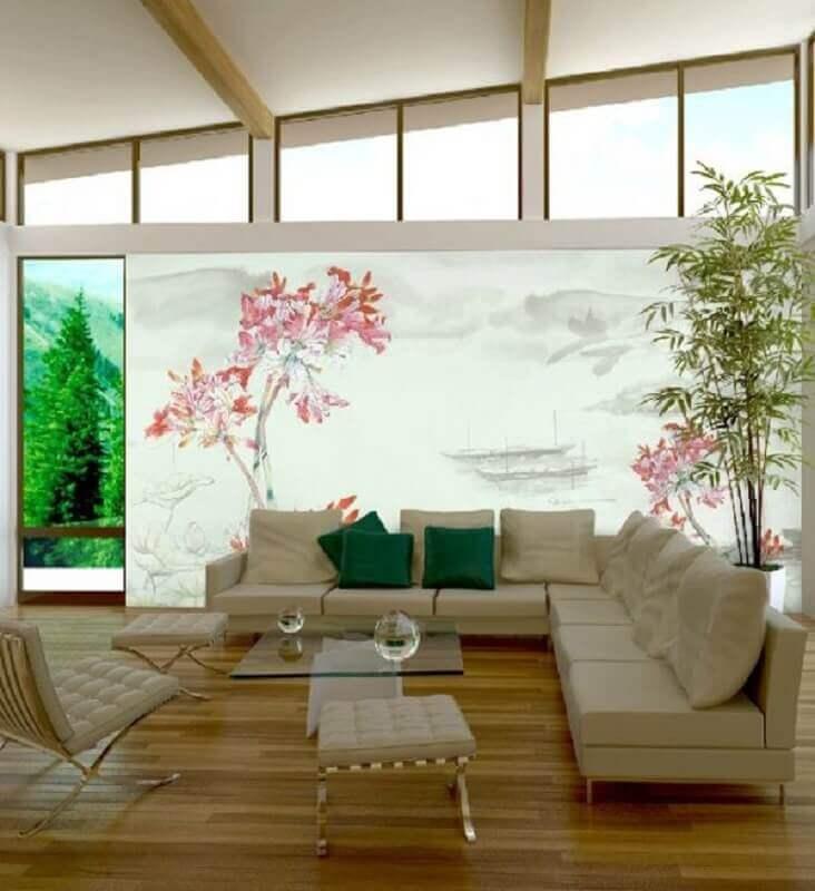 Decoração asiática para sala de estar ampla em cores claras com bastante iluminação natural Foto Architecture Art Design