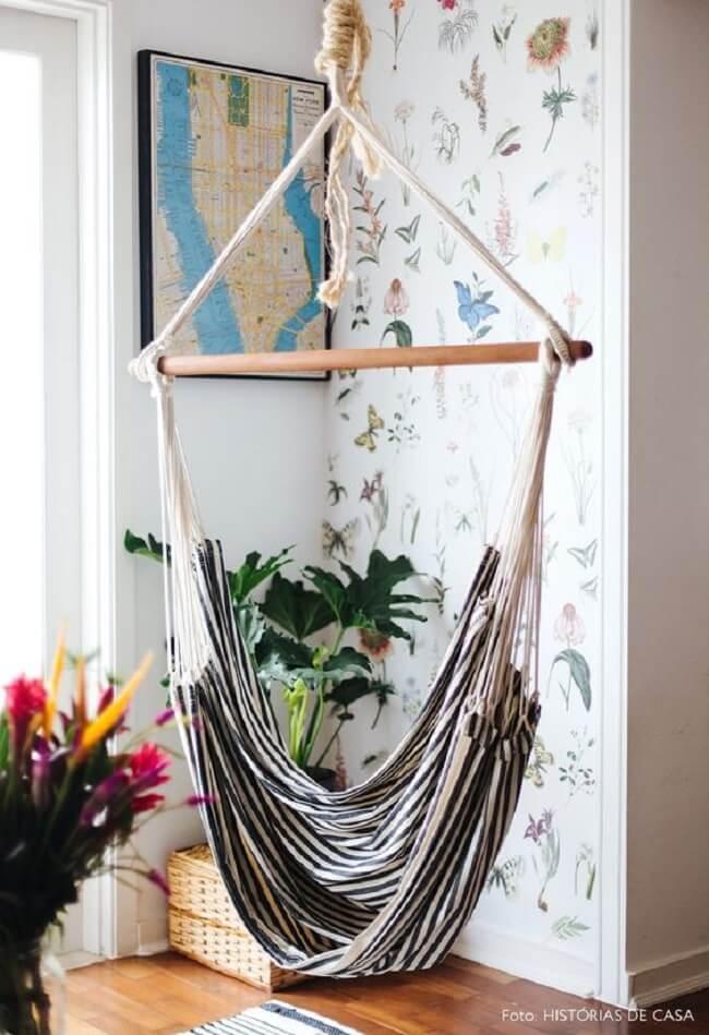 Decoração inspiradora com cadeira rede