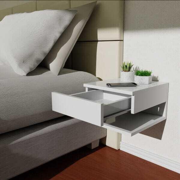Mesa de cabeceira suspensa no quarto com marcenaria inteligente