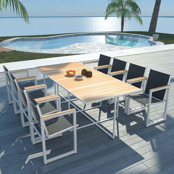 Mesa de jardim com 8 lugares de madeira