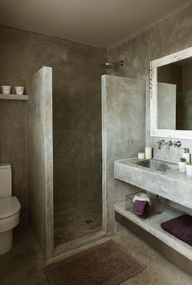 Modelo de bancada de cimento queimado banheiro. Fonte: Arkpad
