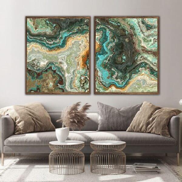 Modelo de quadro mosaico abstrato para sala. Fonte: ArtShop Quadros