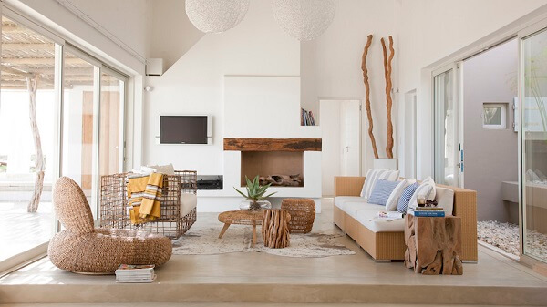Modelo de sofá de vime elegante para sala de estar