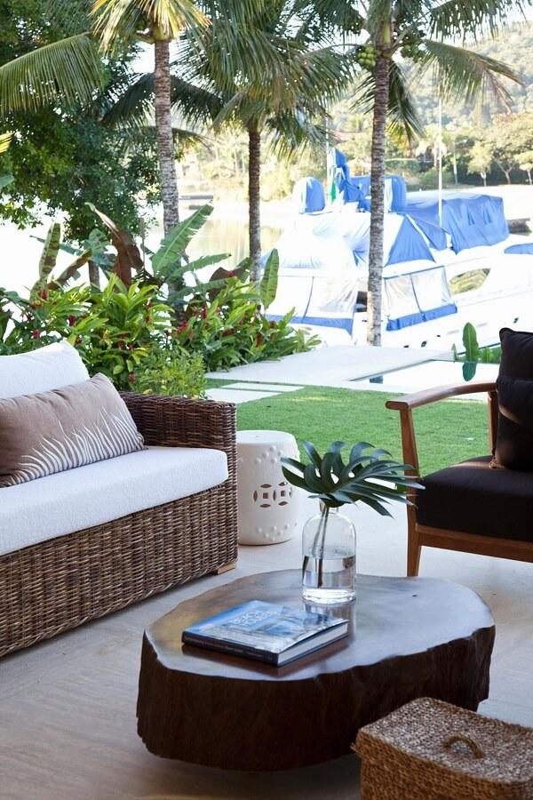 Modelo elegante de sofá de vime para área externa